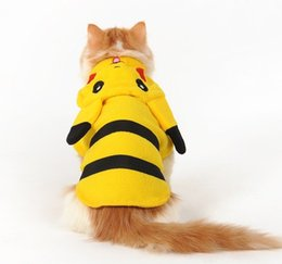 Wholesale Yellow Dog Clothes - 2017 Cute Cartoon Pikachu Design Pet Clothes Costume Cat Dog Clothing Puppy Hoodie Winter Coat for Dogs Pet Supplies Wholesale