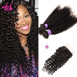 Wholesale Top Quality Remy Hair Styles - Top Quality Braid Virgin Hair Mongolian Kinky Curly Braiding Hair 3 Bundles Afro Curly Style Unprocessed Remy Human Hair Weave with Closure