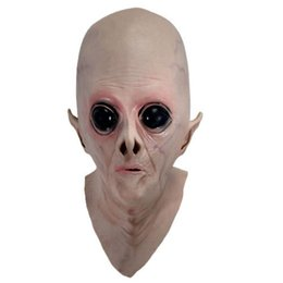 Wholesale Alien Ufo Extra Mask - Wholesale-Scary Silicone Face Mask Alien UFO Extra Terrestrial Party ET Horror Rubber Latex Full Masks For Halloween Party Toy Prop