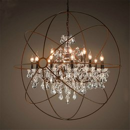 Wholesale E14 Candle Globe - Country Hardware Vintage Orb Crystal Chandelier Lighting RH Rustic Iron Candle Chandeliers Light Globe LED Pendant Lamp Home Decoration