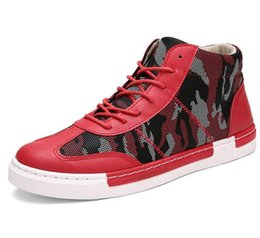 Wholesale Italian Mesh - Mens Hip Hop Shoes Casual Leather 2016 Italian Fashion Men Boots Top high Ankle Shoes Luxury Brand Red Camouflage Espadrilles