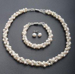 2019 silberne armbänder ohrringe 5-6mm Weiße Südsee Natürliche Perlenkette Armband Ohrringe Set S925 Silber rabatt silberne armbänder ohrringe