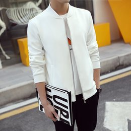 Wholesale jaqueta slim baseball - Wholesale- Korean Style Men's Jacket White Baseball Collar Fashion 2016 Coat Male Solid Slim Fit Mens Jackets and Coats Man jacket jaqueta