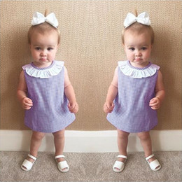 Wholesale Tissue Dresses - 6M-3T Infant Summer Baby Girls Lotus Crew Neck Dress Sleeveless Lady Purple White Dotted Tissue Gingham One-Piece Dress