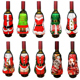 Wholesale Wedding Ideas Decorations - Mini Wine Bottle Apron Cover Birthday Wedding Anniversary Christmas Funny Gift Idea For Dinner BBQ Festive Holiday bar Decoration 10 pattern
