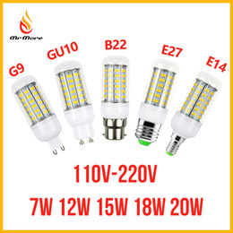 Wholesale 18w E27 Warm White Light - SMD5730 E27 GU10 B22 E14 G9 LED lamp 7W 12W 15W 18W 220V 110V 360 angle SMD LED Bulb Led Corn light 24LED
