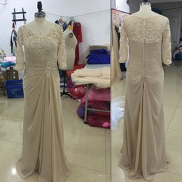 Wholesale Scoop Line Formal Dress - Champagne Mother Of The Groom Dresses Long 2017 Scoop Neck Chiffon Wedding Guest Dress Half Sleeves Formal Evening Gowns