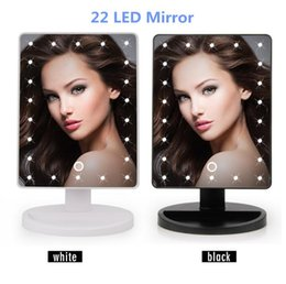 Wholesale Table Mirror Lights - Adjustable Vanity Tabletop Lamp 16 22 LEDs Lighted LED Touch Screen Mirror Makeup Portable Mirror Luminous 360 Rotating Mirror Table mirrors