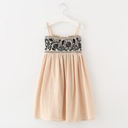Wholesale Linen Summer Sundresses - Everweekend Girls Vinage Floral Embroidered Ruffles Sundress Suspend Western Princess Cotton Linen Dress Children Fashion Dress