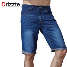 Wholesale Mens Denim Shorts 36 - Wholesale- Drizzte Brand Mens Casual Stretch Blue Denim Shorts Men Jeans Summer Jeans Mens DENIM Shorts Plus Size 34 35 36 38 40 42 44 46