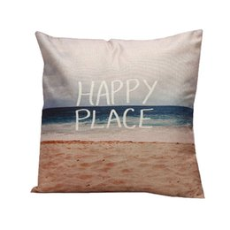 Wholesale Printed Slip Covers - Wholesale- Pillow Case 1PC natural Sea scenery pillow slip ticks HAPPY PLACE beach blue sea cushion case covering square shape on sale