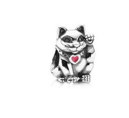 Wholesale Enamel Cat Charms - 2017 New Fits Pandora Charm Bracelet Lucky Fortune Cat Enamel Silver Beads Loose Charms For Diy European Snake Chain Bangle & Necklace
