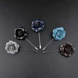 Wholesale Wholesale Women Leather Suits - Men's Handmade PU Leather Flower Lapel Pin Brooch Boutonniere for Suit Wedding Evening Banquet Charm Classic Women Brooches Flower broches