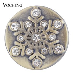 Wholesale Wholesales Antique Jewelry - VOCHENG NOOSA Christmas Ginger Snap Jewelry Antique Bronze Crystal Snowflake Snap Charms 18mm Vn-1748