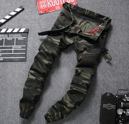 Wholesale Camouflage Pants For Plus Size - Wholesale-European American style 2016 Men's jeans luxury brand denim trousers army green jeans camouflage Pencil Pants Slim jeans for men