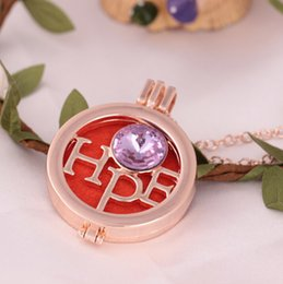 Wholesale Purple Locket Necklace - Gold Hope Design Aromatherapy Essential Oil Diffuser Necklace Locket Pendant Necklace Diffuser Pendant With Free Chain Purple Crystal