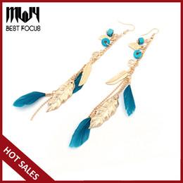 Wholesale Long Red Feather Earrings - MLJY Tassel Earrings for Women Hanging Bohemian Drop Earrings Jewelry 2017 Multicolor Long Feather Dangle Earring Jewellery 12pair lot