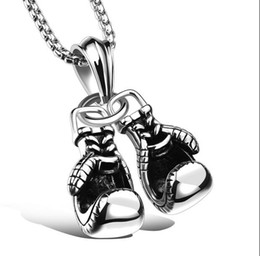 "Wholesale Skeleton Halloween Gloves - Men's Stainless Steel Boxing Gloves Pendant Necklace, 24"" Wheat Link Chain"