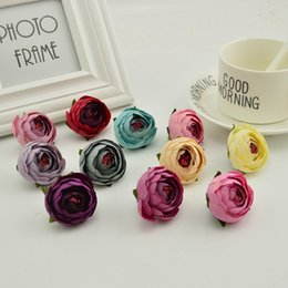 Wholesale Box Roses Wedding - 4Cm 100Pcs Small Tea Bud Artificial Flowers Cheap Silk Rose Heads Home Wedding Decoration Diy Wreath Accessories Candy Gift Box