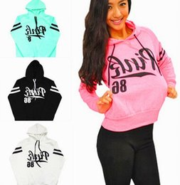 Wholesale Womens Loose Hoodies - 2016 New Spring Autumn Hoodies Loose Pink Letter Print Cotton Fleece Womens Fashion Hoodies and Sweatshirts,Fashion Sweatshirt with hood
