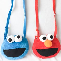 Wholesale Sesame Street Bags - 18cm Sesame Street Elmo Cookie Monster Plush Toys Stuffed Animals Inclined shoulder bag Coin Purse for Children Birthday Gifts