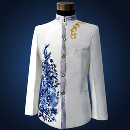 Wholesale Chinese Plus Size Costumes - Wholesale- Plus Size White Embroidered Medieval Renaissance Chinese tunic Suit & Blazer Costumes S-3XL