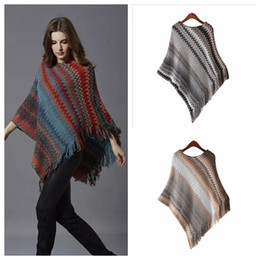 Wholesale Large Knit Scarf - Striped Winter Woman Shawls fashion new Large size mid long Pullovers Loose Batwing Sleeve Scarf Collar Striped knitted Women Sweater YYA476