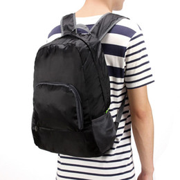 Wholesale Back Bags Men - Wholesale- Travel Backpacks Zipper Soild Nylon Back Pack Daily Traveling Women men Shoulder Bags Folding Bag