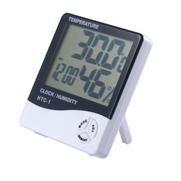 Wholesale Lcd Humidity - Digital Weather Station Indoor Digital C F Thermometer Hygrometer Clock Office LCD Temperature Humidity Meter Monitor HTC-1