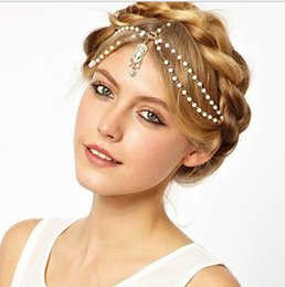 flower hairpieces Promo Codes - 2019 New Beige Red Bohemian Retro Gothic Diamonds Luxury Pearl Hairpieces Fashion Bride Headdress Boho Fascinators