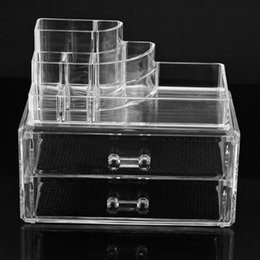 Wholesale Clear Makeup Drawers - High Quality Transparent Two Layer Drawers Clear Acrylic Cosmetic Jewellery Organizer Makeup Box Case 2 Drawers SF-1065