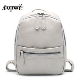Wholesale Wholesale Fashion Korean School Bag - Wholesale- AEQUEEN Leather Backpack Women 2017 Fashion Candy Color Mini Backpacks School Bags For Teenagers Girls Cute Rucksack