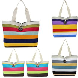 Wholesale Ladies Canvas Shoulder Bag Sale - Wholesale- Fashion Lady Canvas Shoulder Bag stripe printed Tote Purse Messenger Reusable Shopping Handbag sale