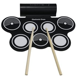 Wholesale Electronic Drums Sets - Wholesale- KONIX Portable Roll Up 7 Silicone Pad USB MIDI Electronic Drum Set MD759 With Stick Musical Instrument