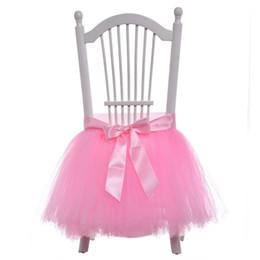 Rosa bianco Tutu Tulle Chair Sash Satin Bow Sash In Stock Sedia Gonna Increspature Decorazioni di nozze Coperture per la sedia Rifornimenti del partito 45x35 cm da