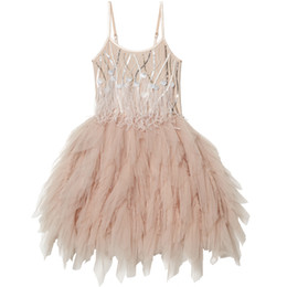 Wholesale Cute Feathered Mini Dresses - 2017 Cute Spaghetti Feather Short Tutu Flower Girls Pageant Dresses For Wedding Sequins Beading Tull Party Ball Gown First Communion Dresses