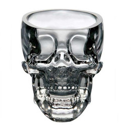 Wholesale Pirate Glasses - Crystal head Cups Pirate Skull Cup Vodka Whiskey Brandy Shot Glass Blown Home Bar Dining Drinkware Wine Glasses Retail Package 240666