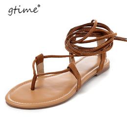 Wholesale High Heels Thong Sandals -  Gtime 2017 Multiple Cross Strap Tall Knee High Summer Roman Sandals Bondage Thong Nubuck Suede Leather Flip Flops ZWS210