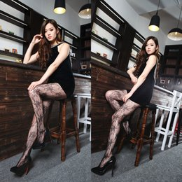 Bas de jambes sexy en Ligne-Vente en gros - été 2016 Hot Fashion Women Sexy Black Flower Fishnet Pattern Jacquard Leg Warmers Midings Pantyhose Tights en gros 450030