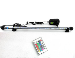 Wholesale Remote Tube Lights - Wholesale- Remote controll 48cm 24led 5050SMD Light Bar Submersible strip submarine lamp multicolor RGB Aquarium Fish Tank tube Waterproof