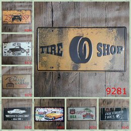 Wholesale Drive Plate - Drive In Liquor Store Tin Posters Beep 30X15 CM Metal Tin Sign Tire Shop License Plates Iron Paintings Hot Rod Customs 3 99rjB