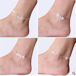 Wholesale women sexy figures - Fashion 925 Sterling Silver Anklets For Women Ladies Girls Unique Nice Sexy Simple Beads Silver Chain Anklet Ankle Foot Jewelry Gift