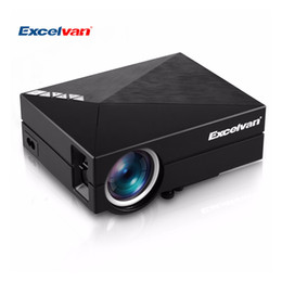 Wholesale dlan hdmi - Wholesale-Excelvan GM60A Portable Mini Projector LCD LED Projector Home Theater 800*480 Support Full HD 1080P DLAN USB SD VGA HDMI AV