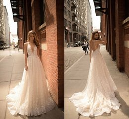 Wholesale Luxurious Backless Wedding Dresses - Berta A-Line Spaghetti V-Neck Backless Sleeveless Sweep Train 2017 New Arrival Sexy Wedding Dresses Luxurious Wedding Gowns