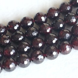 """Wholesale Faceted Garnet - Wholesale- Discount Wholesale Natural Red Garnet Round Loose Stone Faceted Beads 3mm-10mm Fit Jewelry DIY Necklaces or Bracelets 15"""" 04145"""