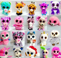 2019 vestidos de novia de felpa rosa Ty Beanie Boos Big Eyes Peluches Muñecas Búho Ratón Gato Foxy Oso Conejo Pingüino Pequeños juguetes blandos rellenos alrededor de 17 cm KKA1271