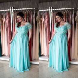 Wholesale Fat Strap - Aqua Plus Size Mother Of The Bride Dresses 2017 Short Sleeves Maxi Big Sizes Formal Weddings Guest Dress For Fat Women