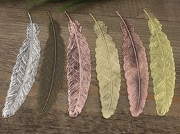 Wholesale Antique Copper Jewelry Findings - Wholesale-110*24mm Alloy Feather Bookmark Charms Pendant Copper with Antique Bronze Silver Black Gold Plated ,DIY Handmade Jewelry Finding