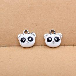 Wholesale Panda Pendant White Gold - Free Shipping 10pcs lot DIY Fashion Jewelry Accessories New Arrival Alloy Enamel Black&White Cute Panda Head Floating Charm Pendant 15*16mm