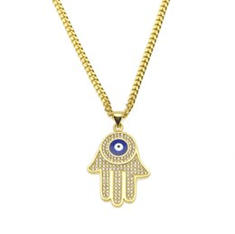 Wholesale Hand Fatima Jewelry - New Gold Plated Fatima hand Pendant AAA CZ Crystal Copper Material Luck Hand Palm Blue Necklace Chain For Women Jewelry